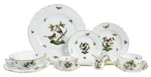 Herend Rothschild Bird Dinner Service for Twelve