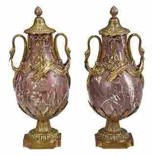 Pair Louis XVI Style Breche Violette Marble Urns