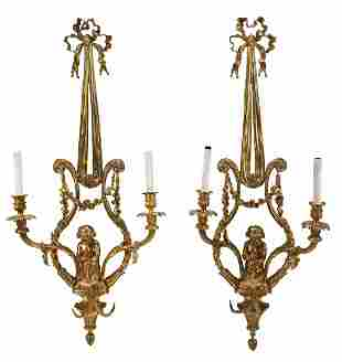 Pair Louis XV Style Gilt Bronze Figural Wall Sconces