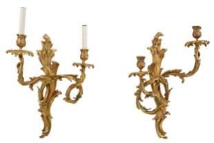 Pair Louis XV Two Light Gilt Bronze Wall Sconces
