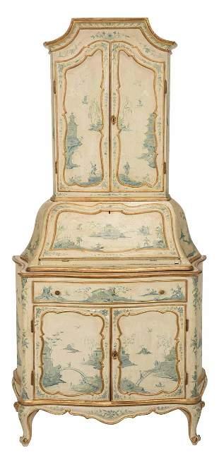 Venetian Baroque Style Paint Decorated Secretary