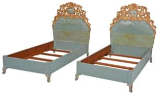 Pair Italian Baroque Style Carved Twin Bedsteads