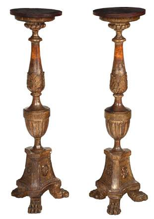 Pair Italian Baroque or Style Carved Gilt Pedestals