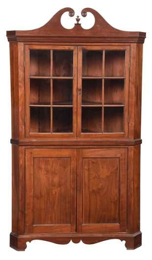 Southern Federal Walnut Corner Cupboard