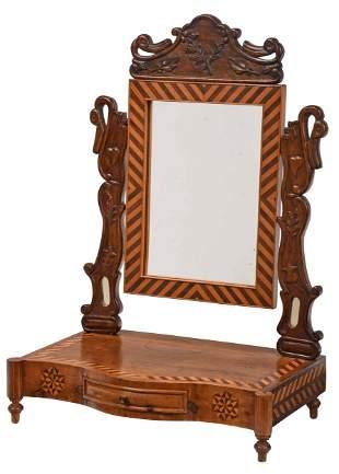 Southern Folk Art Inlaid Shaving Mirror