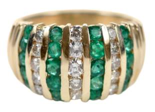 14kt. Diamond and Emerald Ring