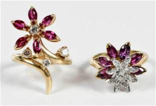 Two 14kt. Ruby and Diamond Rings