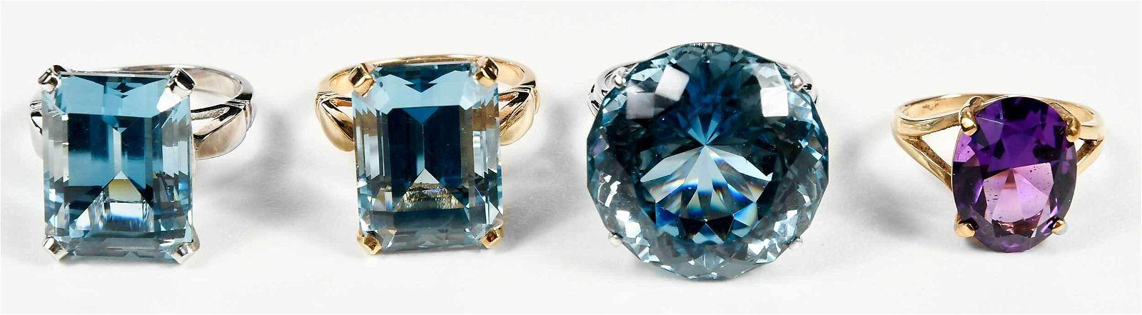 Four 14kt. Gemstone Rings