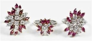 Three 14kt. Diamond and Ruby Rings