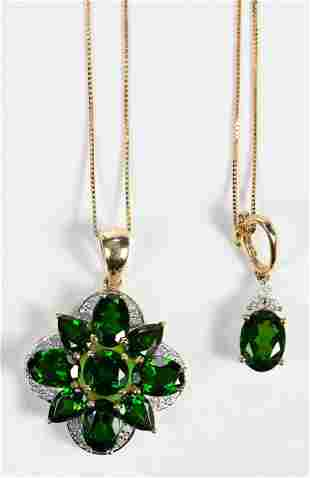 Two Chrome Diopside Pendants