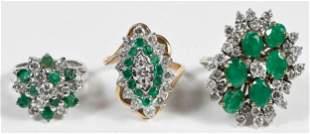 Three Gold Emerald and Diamond Rings