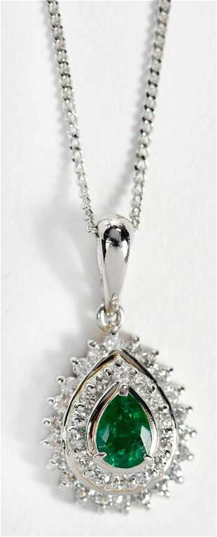 Platinum Emerald and Diamond Pendant