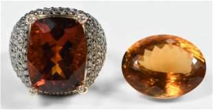 14kt. Citrine Ring & One Loose Citrine Gemstone