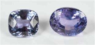 Two Loose Lavender Sapphire Gemstones