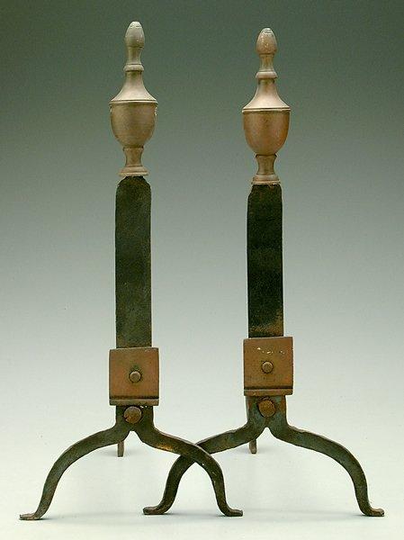 2: Pair brass and iron andirons: