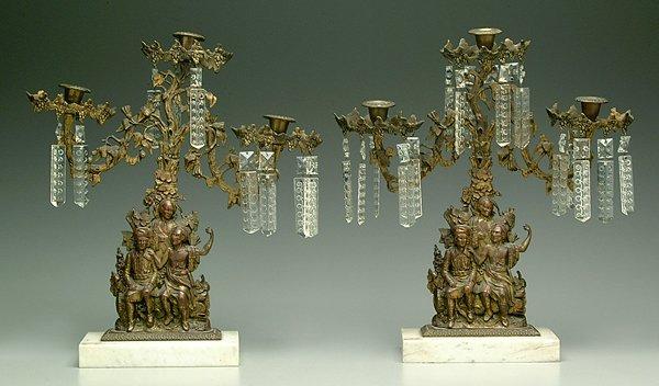 8: Pair cast brass three-arm girandoles: