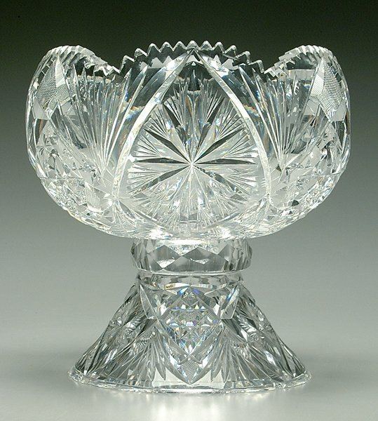 13: Two-piece cut glass punch bowl, stand: