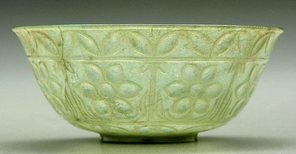 18: Carved pale green hardstone bowl,