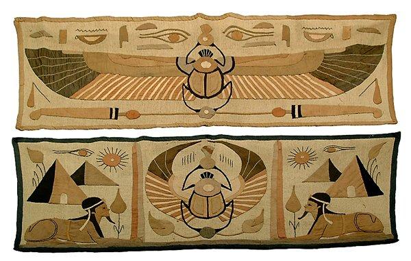19: Two Egyptian-style textile panels: