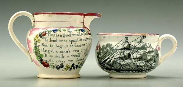23: Two Sunderland lusterware vessels,