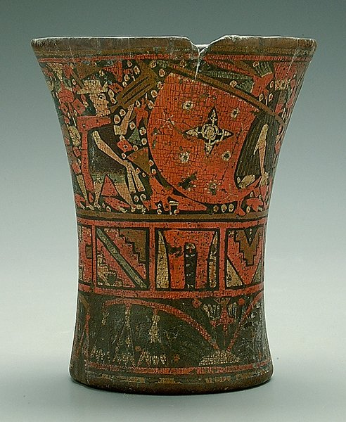 152: Peruvian Inca Kero polychromed beaker,