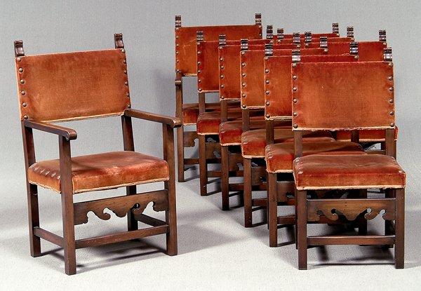 188: Ten Spanish-style mahogany chairs: