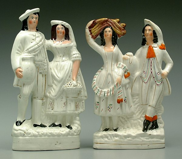 601: Two Staffordshire figural groups: