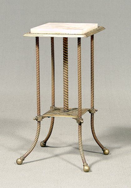 606: Brass and marble lamp stand,
