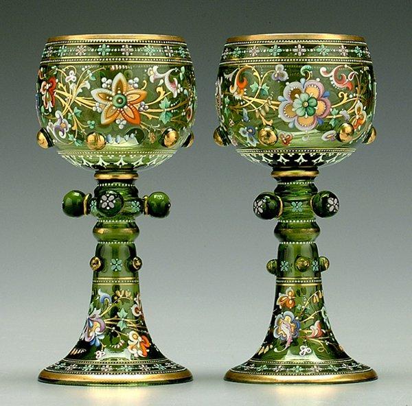607: Pair enameled glass goblets,