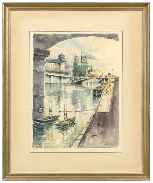 611: Pair French watercolors: