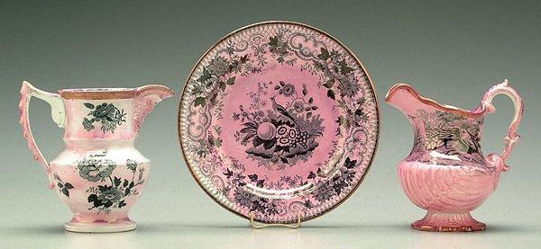 616: Three pieces pink lusterware,