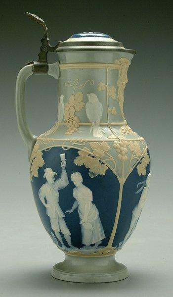 618: Mettlach wine jug,