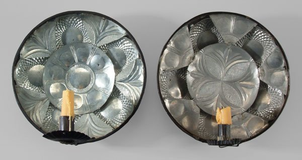 14: Two similar toleware sconces: