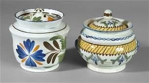 311: Two pearlware lidded sugar bowls: