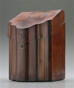 Inlaid mahogany knife box,