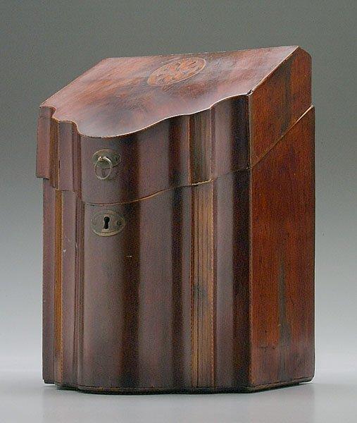 5: Inlaid mahogany knife box,