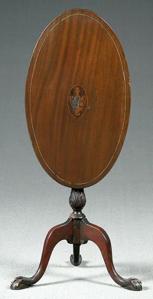8: Inlaid tilt-top oval mahogany table,