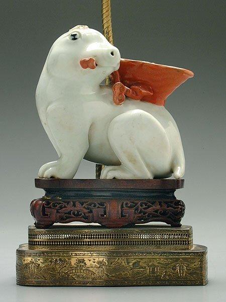9: Chinese ceramic rabbit lamp,