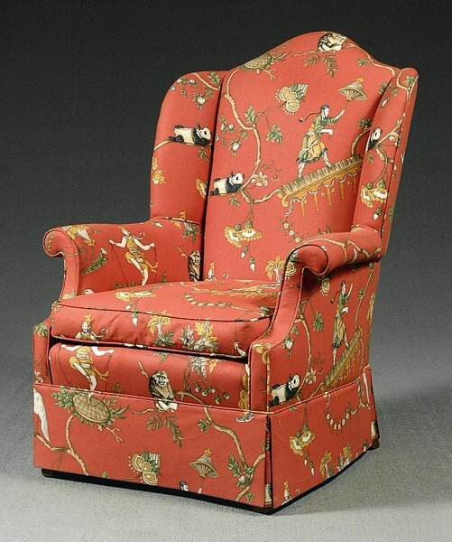 14: Upholstered wing chair,