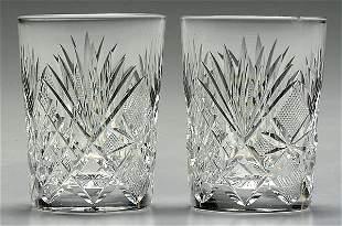 Nine cut glass tumblers,