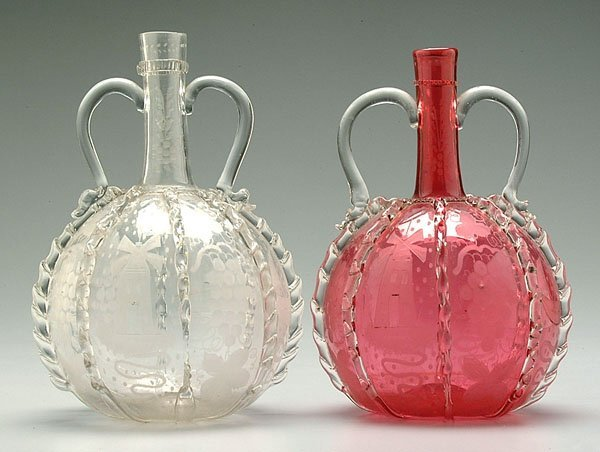 20: Two decorated Bohemian bottles