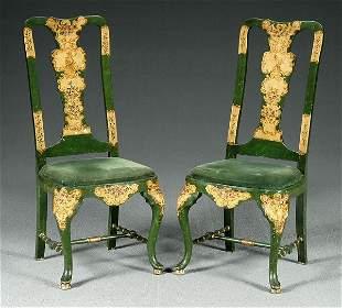 Pair beech wood chairs,