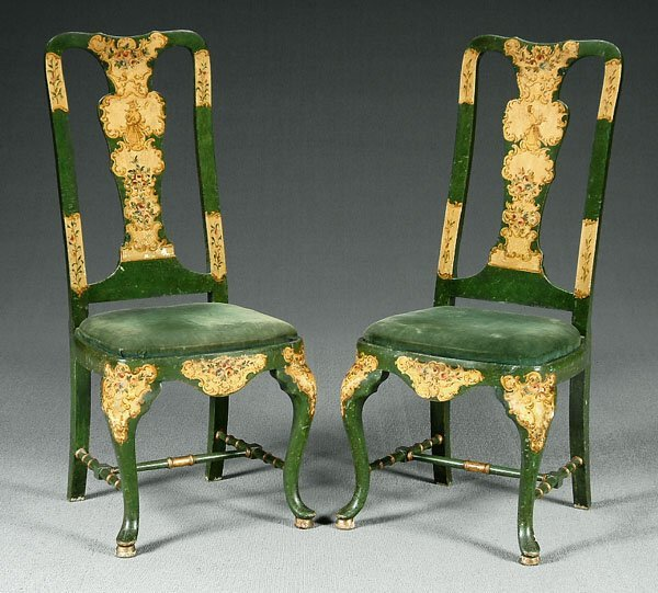24: Pair beech wood chairs,