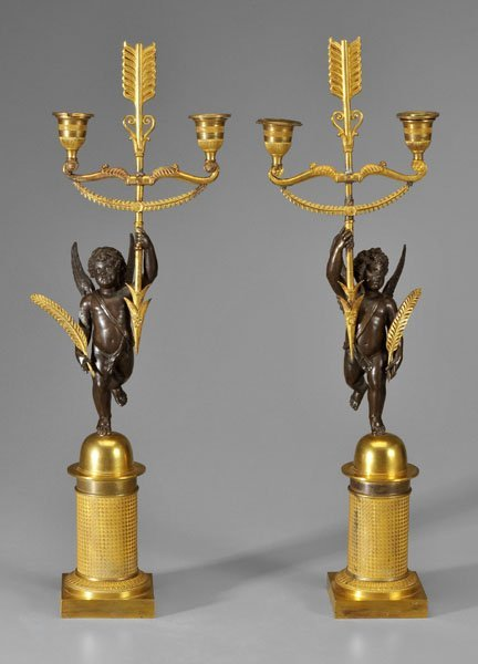 269: Pair Empire style candelabra, angels: