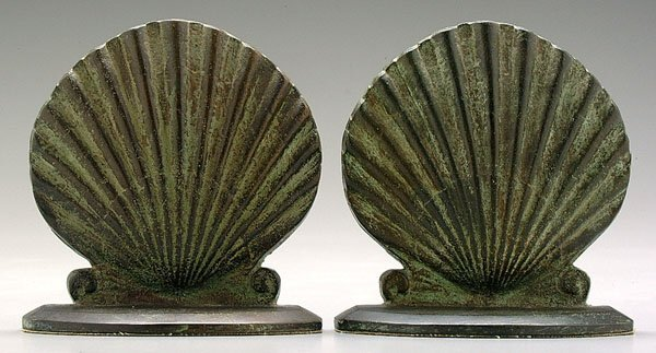 601: Pair bronze shell-form bookends,