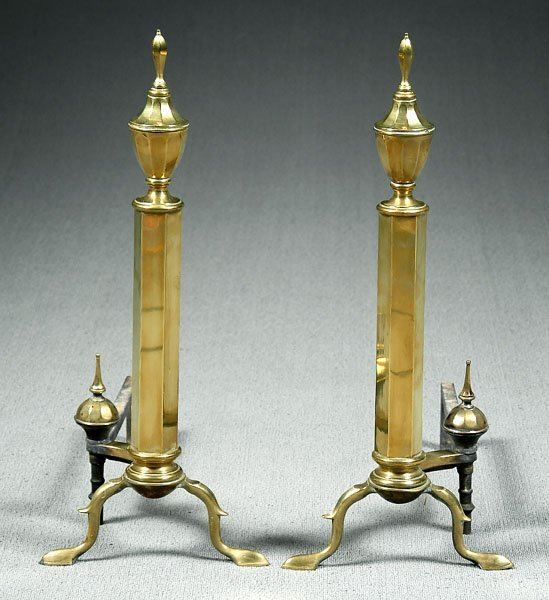 603: Pair Federal style brass andirons,