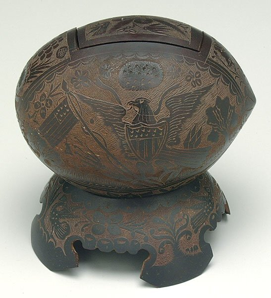 606: Elaborately carved coconut,