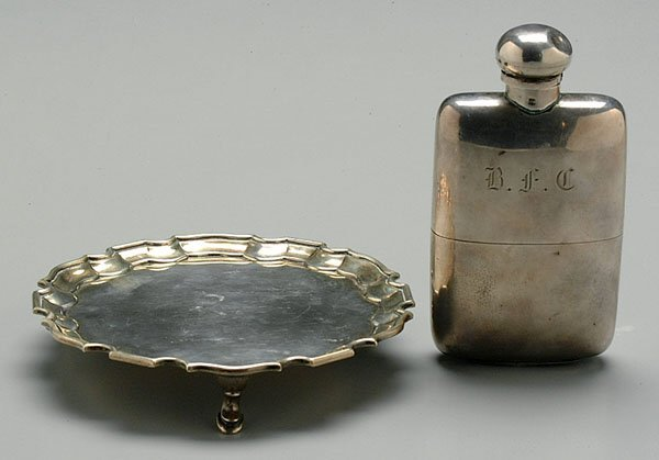 610: English silver flask and small salver,