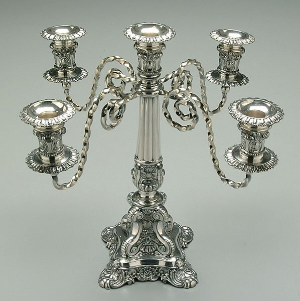 613A: Five-cup silver-plated candelabra,