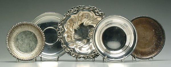 613C: Five sterling plates and bowls:
